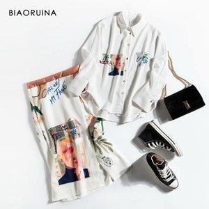 BIAORUINA Mulheres Japão Estilo Único Breasted solto Casaul shirt + cintura alta moda Side Zipper Skirt Lady Escritório Two Piece Set T200702