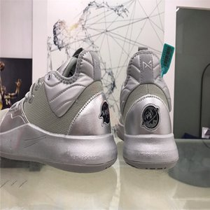 xshfbcl 2020 PG 3 NASA 50th Reflective Silver Men Basketball Shoes PG3 3s Metallic Silver Mandarin Duck Paul George Shoes Free