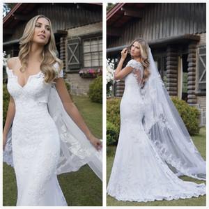 Off the Shoulder Lace Mermaid Wedding Dresses 2020 V Neck Appliques Illusion Bridal Gown Vestidos De Noiva Court Train Bride Dress