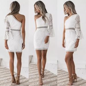 Robe de dentelle épaule Hot femmes Lady Panel découpe manches longues robes de soirée creux blanc Mini robe robes fille