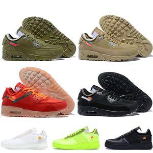 Nike Air Force 1 air max 90 Moda para mujer caliente Diseñador para hombre Entrenadores Cojines Zapatillas de running Verde oliva Arenoso Dunk 1 Volt zapatilla de deporte