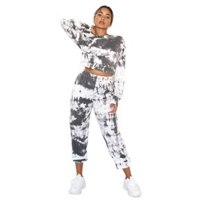New Women Yoga Set Sports Two Piece Suits Fashion Tie Dye Long Sleeve Pullover Top High Waist Trousers Elastic Waist Autumn 2020
