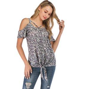 2020 Summer Hot Sale Female T-Shirt V-Neck Tops Tee Loose Leopard Printed Irregular Cold Shoulder Short Sleeve