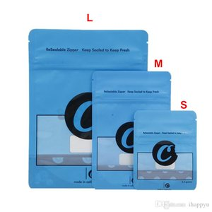 S M L 3 Tamaños 28 g 7 g 3,5 g Azul Galletas de la cremallera olor bolsas a prueba de embalaje a prueba de soporte para arriba las bolsas en seco de la hierba Niño