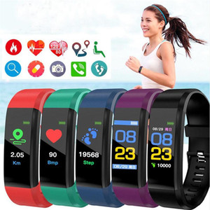 ID115 115 Plus Smart Bracelet Fitness Tracker Watch Counter Blood Pressure Monitor Smart Wristband Colorful Screen