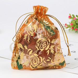 100 teile / los Rose Design Organza Taschen 15x20 cm Hochzeit Gefälligkeiten Schmuck Geschenk Tasche Kordelzug Beutel Nizza Süßigkeiten Schmuck Verpackung Taschen