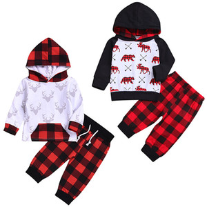 Christmas Baby Set Bambini animale dei cervi di stampa a maniche lunghe Hoddie Top Pants + plaid rosso lungo del bambino di natale Outfits bambino la Designer Abbigliamento bambini M561