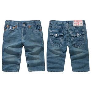 EUA Marca Shorts Homens TR verdadeira Cotton Religião Hetero Casual Shorts Tamanho Grande crença verdadeira Linha Grossa estiramento Denim Shorts