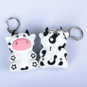 Cute Milk Cow Doll LED Light Sound Keychain Key Holder Plush Dolls Stuffed Animals & Plush Bag Key ring Cushion Pillow Child Child Christmas