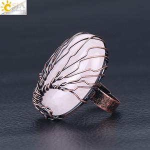 6 cores Estilo Vintage Handmade Gemstone Rings Copper Opal Rose Quartz jóia única Winding Árvore da Vida ajustável banda anel moda jóias