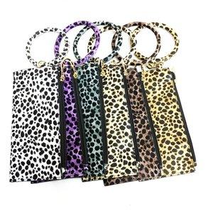 Kadınlar Kız Lady Moda Bilek Telefon Bag için Leopar Debriyaj Çanta Anahtarlık Anahtarlık Charm Tutucu Wristlet Bilezik Bileklik Araç Anahtarlık Yüzük