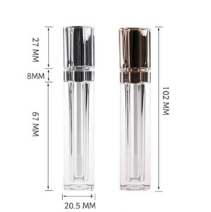 Luxury 8ML Plastic Lip Gloss Packaging Containers Gold Silver Square Clear Lip Gloss Tube Liquid Lipgloss Refillable Bottles Container SN835