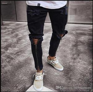 Men Zipper Holes Designer Jeans Black Ripped Slim Fit Represen Pencil Pants