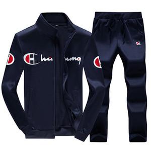 Autunnali set 2 pezzi maniche lunghe Mens Tuta pantaloni casuali degli uomini vestiti di nero grigio sportsuit Tute