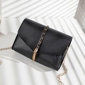 Kunstleder Kette Design Trendy Quaste Kleine Quadratische Tasche 2020 Sommer Frauen Cross-body Schulter Messegner Tasche Handy
