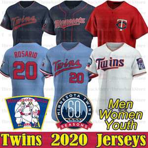 Minnesota Eddie Rosario Trikots Byron Buxton Max Kepler Jose Berrios Nelson Cruz Miguel Sano 7 Joe Mauer 2020 Neue Saison-Baseball-Shirts