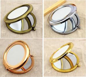 200 adet Ücretsiz Kargo 70mm Cep Kompakt Ayna Yuvarlak Metal Gümüş Makyaj Aynası Promosyon Hediye hızlı kargo şekeri