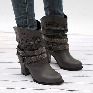 2019 Women's Rivet Boots Winter Western Boot Leather Fashion Retro Mid Tube Shoes Buckle Strap Cowboy Belt Martin Boot High Heel
