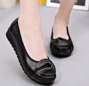 الأحذية 2019 المرأة في الربيع والخريف مع اسلوب جديد شقة جولة رئيس القاع BOWKNOT مضاد للانزلاق من لينة الأحذية الأم أسفل @ RR715