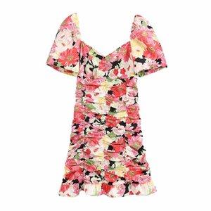 Woah 2020 Bb2234 Женщины платье vestidos де Verano летнее платье женщин новый V-образный вырез талии складка цветок печати