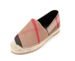 Hot Sale-drilles Casual Pescador Cheques sapatos Grids Stripped Deslizamento da lona Em Snickers Skate Ballet Flats Loafers