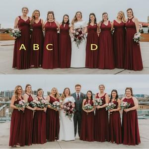 2020 Borgoña barato sin espalda cuello en V una línea de dama de honor vestidos de novia acanalada blusa elegante de barrido Tamaño de tren más vestidos de baile