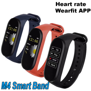 Mejor calidad M4 Smart Band Fitness Tracker Watch Pulsera deportiva Heart Rate Wearfit App Cargador con clip Smartband Monitor Health Wristband