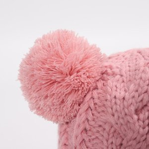 Winter Toddler Baby Chunky Cable Knitted Earflap Hat Bright Solid Color Cute Pompom Kids Elastic Crochet Beanie Cap Ear Warmer