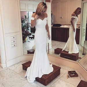 Elegantes 2018 longo branco vestidos de noite fora do ombro decote justo Sereia Varrer Vestidos Train Prom Beach Party