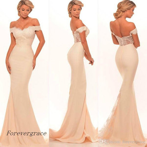2019 New Cheap Long Backless Bridesmaid Dress Off The Shoulder Lace Applique Maid of Honor Dress Wedding Guest Gown Custom Made Plus Size