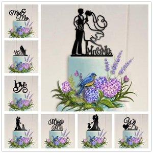 Acrylique gâteau de mariage Topper Epoux Mr Mrs Love gâteau noir Toppers Décoration de mariage Mariage de célébration Faveurs adultes