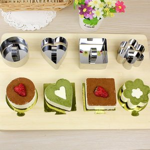 Mini-Mousse-Kuchen-Form Edelstahl-Quadrat-Runde Backformen Herzform Kuchen Mousse-Form-Mousse Ring Kitchen Tools LXL1147