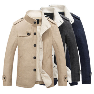 Brasão Mens Chamarras Inverno Homens Coats Jacket Parka lã grossa quente Homens Coats Jaquetões Overcoat de lã masculino masculina de lã