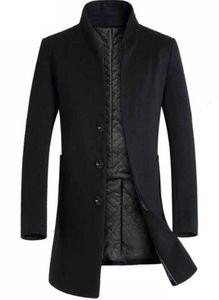 Con paneles de lana de diseño chaquetas para hombre delgado de la manera individual de pecho para hombres Midi sacos de lana casual hombres ropa