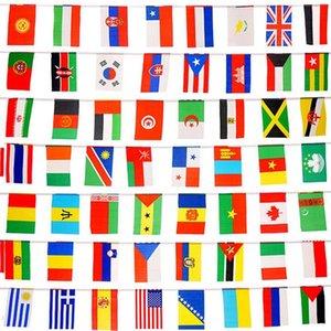 100 Ülkeler Bayraklar 82ft Uluslararası Bayraklar Parti Dekorasyon, olimpiyatlara, Grand Opening, Bar, Spor Kulüpleri, Okul Etkinlikleri için Bunting Banner