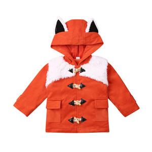 معطف 1-6Y طفل رضيع طفل بنات الشتاء الكرتون فوكس نمط القطيفة جاكيتات الدافئة الأطفال ازياء لطيف