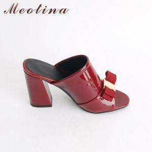 Meotina Women Summer High Heels Peep Toe Ladies Party Shoes Bow Block Heel Female Slipper Outdoor Red Black Big Size 34-43 Y200628