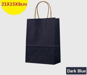 Venta al por mayor-10PCS / lot bolsa de papel azul oscuro multifunción con asas / tamaño S / bolsa de regalo del festival / bolsas de compras de alta calidad de papel kraft