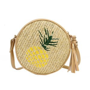Pop2019 Leaves Summer Pineapple Embroidered Woman Straw Plaited Article Packet Single Shoulder Span Tassels Small Circle Package
