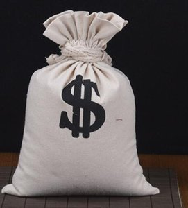 DHL Canvas Money Bag Pouch with Drawstring Closure and Dollar Sign Design for Toy Party Favors Carrying Case Sack nd