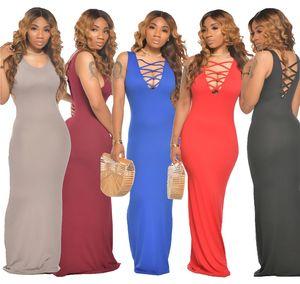 womens summer one piece dress sleeveless skirt Ankle-Length high quality skinny dress elegant luxury clubwear women clothing klw4006