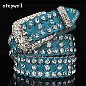 Strass Cowskin echte Ledergürtel für Frauen Jeans Luxuxfrau Gürtel Hochwertige Pin Schnalle Bauchgurt für weibliche Kleid Y191207
