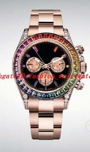 40 mm de lujo del reloj de los hombres de 116.505 de oro rosa de oro macizo Negro Dial arco iris bisel de acero pulsera de moda de los hombres del reloj del reloj automático