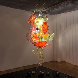 Luxury Chandelier LED Luminária 110-240 volts Home Lighting Murano Vidro Flores Handmade vidro fundido Folha Chandelier Iluminações