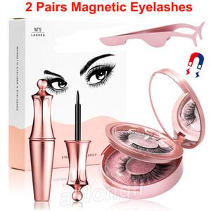 Manyetik Likit Eyeliner Ve Makyaj Ayna Cımbız 2 Çiftler 3D Yanlış Eyelashes kit 5 Mıknatıslar Lashes yok Yapıştırıcı Gerekli Yeniden kullanılabilir olan Kirpikleri