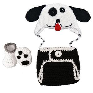 Tenue de chiot nouveau-né mignon, tricoté à la main au Crochet bébé garçon fille Animal chapeau de chien chapeau couche couverture chaussons ensemble, costume de Halloween pour bébé Photo Prop