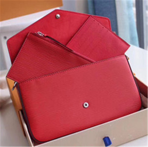 Newset Bolsas de mujeres Pipple relieve de impresión en las flores 3 1 Cadena de Patentes bolsa de cuero de la tarjeta monedero de Crossbody del mensajero del hombro del bolso