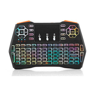 Mini i8 além de teclado sem fio 2.4G Air Mouse Multicolor Gaming Keyboard Remote Control Touchpad para Smart TV Android Box Notebook Tablet Pc