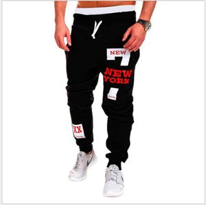Mens Sports Pants New Korean Casual Letter Printing Elastic Waist Loose Casual Long Pants Gym Leisure Trousers