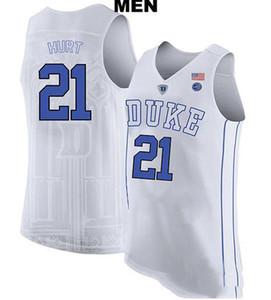 su misura XXS-6XL Rare Duke Blue Devils Matthew Hurt # 21 Real ricamo College Basketball Maglia Size S-4XL o personalizzati qualsiasi nome o numero JERS